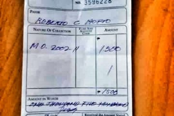 Receipt of P1,500 fine for a fishery violation.