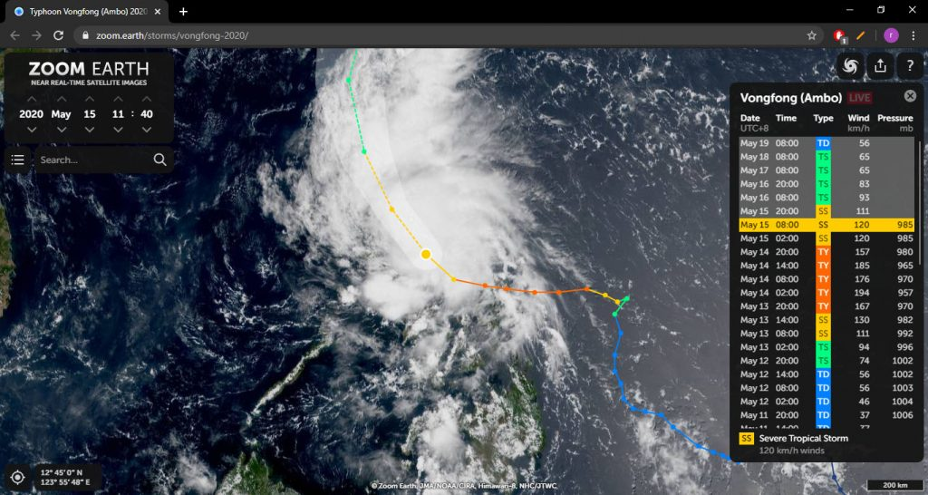 Typhoon Ambo (Vongfong) at Zoom Earth.